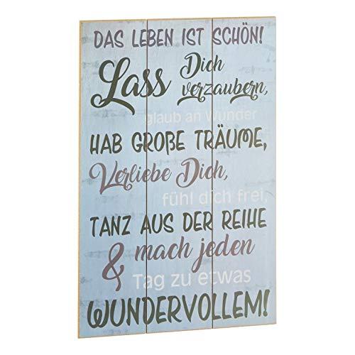 NaDeco Plankenschild ca. 60 x 40 cm ' Das Leben ist schön ' | Holzschild | Wandbild | Wandtafel | Vintage Motiv-Schild | Dekoschild zum Verschenken | Wanddekoration