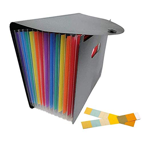 ドキュメントファイル A4 12分類 大容量 マルチカラーラ 蓋付き ラベル付き ブラック 書類ケース 持ち運び 書類入れ 事務用品 ?(13ポケット)