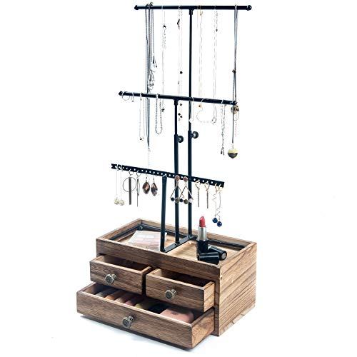 KLGO Jewelry Tree Stand Organizer 3 Tier Metal Jewelry Holder Stand with Wood Basic Storage Box Adjustable Height Holder Display for Necklaces Earrings Bracelets and Rings