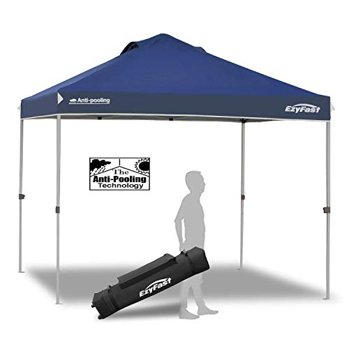 EzyFast Antipool Canopy for Rain or Sunshine, Portable 10x10 Pop Up Canopy, Patented Instant Shade Tent with Wheeled Carry Bag for Beach or Sports (Gray Frame)