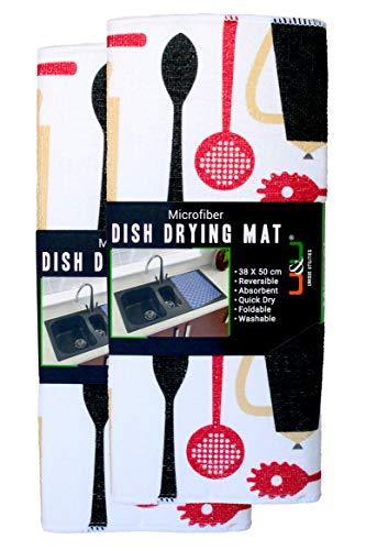 U & U UNIQUE UTILITIES Microfiber Dish Drying Kitchen Mat, 38x50 cm (White) Pack of 2