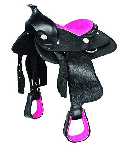 WALDHAUSEN Synthetik Westernsattel Think Pink, schwarz/pink, 12', schwarz/pink, 12'/30 cm