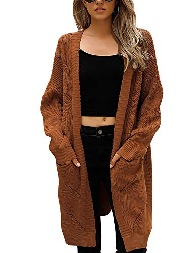Blooming Jelly Women's Long Cardigan Sweaters Oversized Chunky Cardigan Lighweight Open Front with Pockets(Large, Brown