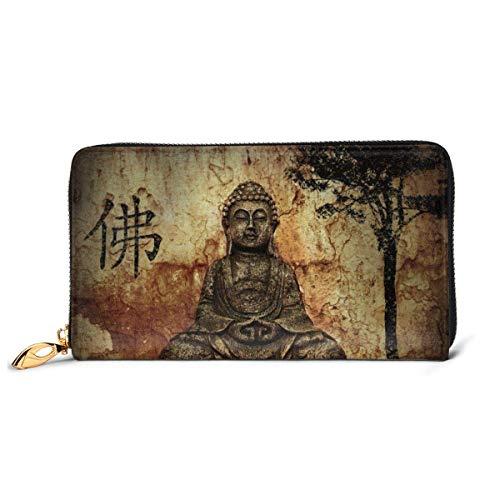 Nigel Tomm Gautama Buddha Geldbörsen für Männer Frauen Langes Leder Scheckheft Kartenhalter Geldbörse Reißverschluss Schnalle Elegante Clutch Damen Münzgeldbörse