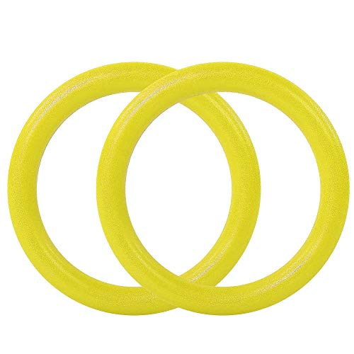 Gcgg Gym Training Ring ABS Gymnastic Rings Gym Fitness Training Exercise Tool With Straps Yellow