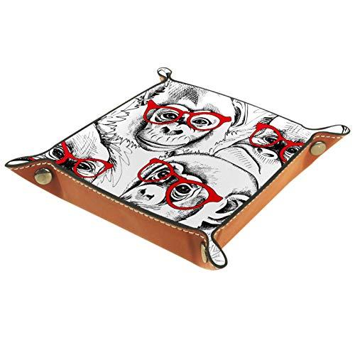 Haminaya Bandeja plegable de cuero para dados con broches para DnD, juegos de mesa, almacenamiento, divertido mono gorila gafas Patern