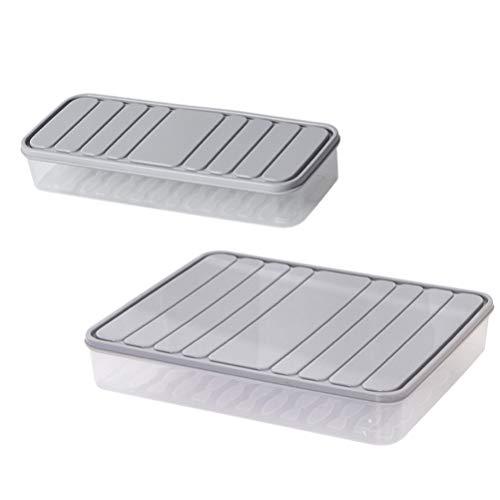 Cabilock 2 recipientes de almacenamiento de plástico para alimentos (gris L/S)
