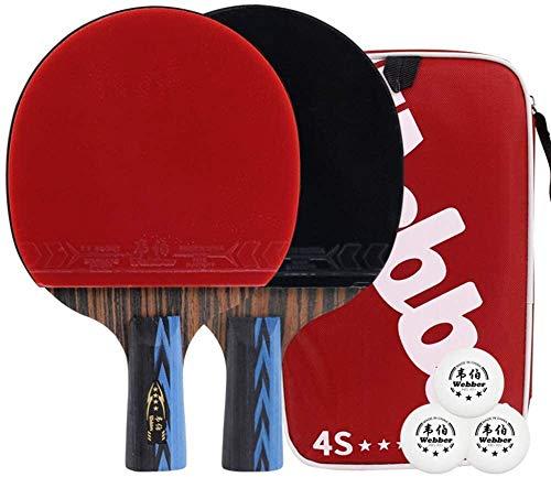 REWD Sets de Ping Pong Los Estudiantes Mesa De Ping Pong Bat Paleta De Ping Pong 7 Capas De Madera Paleta De Ping Pong For Principiantes / 4 Estrellas/Mango Largo (Size : Long Handle)