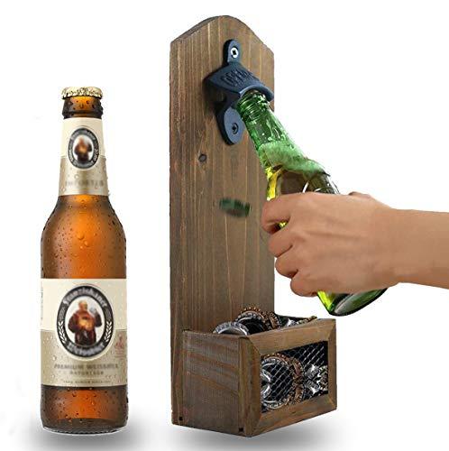 goldmiky Abridor Cerveza,Abrebotellas de Pared, Abridor de Botellas de Madera con Estilo Retro, Hay Una Cestilla Pequeña para Guardar Tapas de Botella,abrelatas Colgante y Tenedor de la Tapa