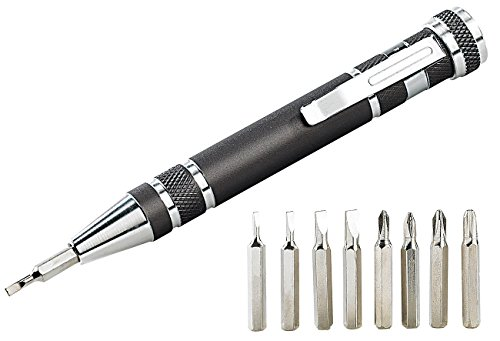 PEARL Brillen Schraubendreher: 8in1-Schraubendreher im Kugelschreiber-Design, 4x Kreuz und 4x Schlitz (Mini Schraubendreher)