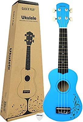 Click N' Play Wooden Soprano Ukulele Guitar Music Instrument for Kids, Educational, Musical String Instrument- Blue