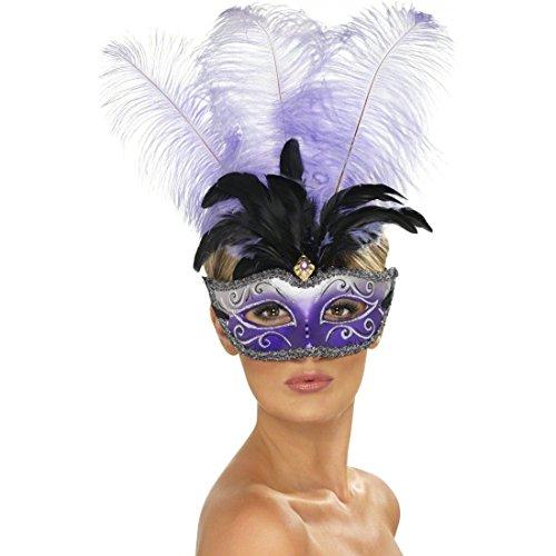 NET TOYS Venezianische Maske mit Federn lila Venedig Maske lila Silber Venedigmaske Augenmaske Federmaske Maskenball Karneval