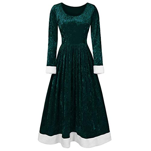 Lowest Prices! Hopwin Womens Velvet Christmas Dress | Elegant Long Sleeve Stretchy A Line Dresses Re...