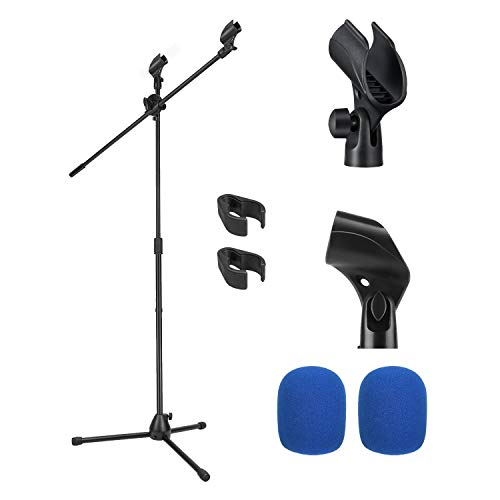 Moukey Microphone Mic Stand, Tripod Boom Microphone Stand with 2 Non-Slip Mic Clip Holders and 2 Foam Cover, Collapsible and Adjustable Design, Suitable for Shure SM7B / SM58, Black - MMs-3