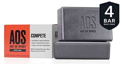 Art of Sport Body Bar Soap (4-Pack), Compete Scent, with Activated Charcoal, Tea Tree Oil, and Shea Butter, 3.75 oz