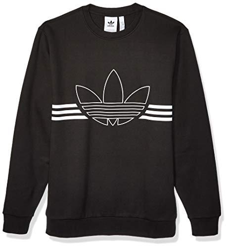 adidas Originals Men's Outline Fleece Crewneck Sweatshirt, Black, Medium