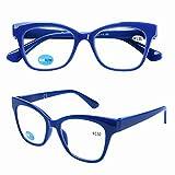 DOOVIC Occhiali da Lettura Luce Blu +1.5 Blu Quadrati Occhiali da vista Lente d'ingrandimento per Uomo /Donna/Computer