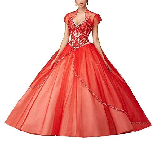 XUYUDITA Mujeres Espagueti Correas Abalorios Bola Vestido Prom Quinceanera Vestidos Largo Rojo-48...