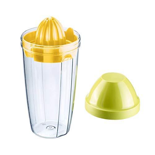 Westmark Mix- und Schüttelbecher/Shaker mit herausnehmbarer Mixscheibe und Zitronenpresse, Fassungsvermögen: 0,5 l, Höhe: 18,7 cm, Kunststoff, BPA-frei, Press + Shake, Farbe: Klar/Grün/Gelb, 30792270