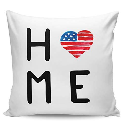 """Winter Rangers Fundas de almohada decorativas, diseño de bandera americana Love-HOME con texto en inglés """"Love-Home"""", para sofá, cama, silla, ultra suave y transpirable, 50,8 x 50,8 cm"""
