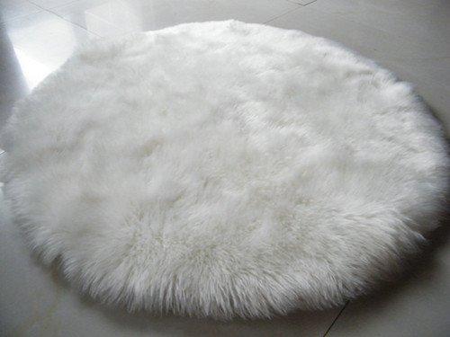 GRENSS Mouton Ronde Housse pour Chaise Coussin Tapis Douce Peau Lisse poilue Plaine Fourrure Tapis Moelleux Tapis Tapis Chambre à Coucher 006 Faux,Blanc,120cm