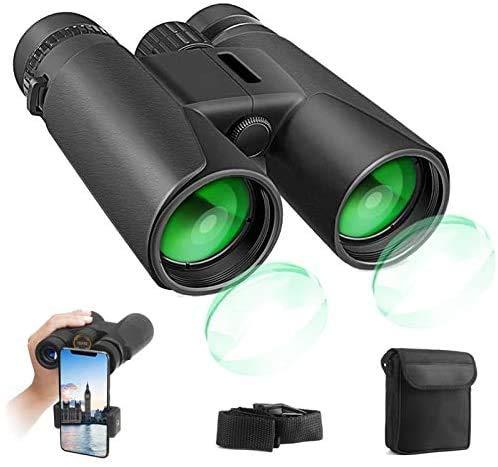 Fernglas 12x42 kompakte Ferngläser für Vogelbeobachtung, Wandern, Jagd, Sightseeing, Kleines Fernglas mit FMC Linse, Tragetasche und Phone-Adapter