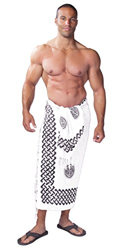 1 World Sarongs Mens Celtic Sarong in Interlace Knotwork Black/White
