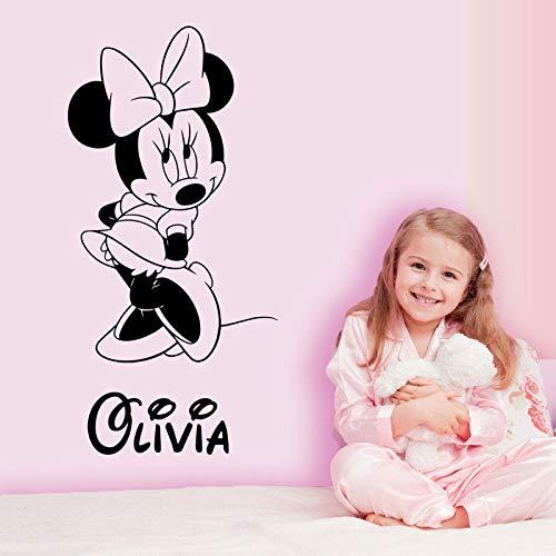sanzangtang Gepersonaliseerde muis muur decal kinderkamer aangepaste baby naam cartoon muur stickers thuis decoratie kinderen meisje kamer muurstickers