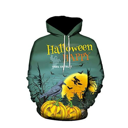 IFOUNDYOU Halloween, 3D Kapuzenpullover Herren, Furchtsames Partei-langärmliges, Hoodie Einfarbig, Bunte Pullover Kapuzenpulli,Kapuzenjacke,Oversize Sweatshirt, Mode Oberseite, 3D Hoodie Herren