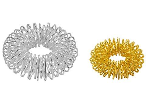 5x2er Set Massageringe Fingermassage Energie-Ring-Set Yin & Yang silber-groß, gold-klein