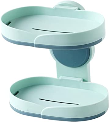 石鹸置き 石鹸ケース せっけんおき ソープディッシュ 壁 棚 洗面台 浴室架 洗脸盆收纳 強力テープ固定 良好な排水効果 プラスチック素材 ライトブルー 二重層 (ライトブルー)