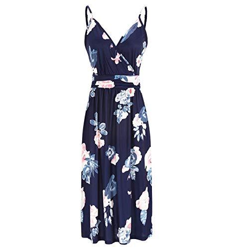 Frauen lässig lose Tasche Kleid Mode Beach Style ärmellose temperamentvolleBedrucktes Kleid mit Riemen Damen Lässig bedrucktes Kleid mit V-Ausschnitt Sexy ärmelloses langes einteiliges Kleid