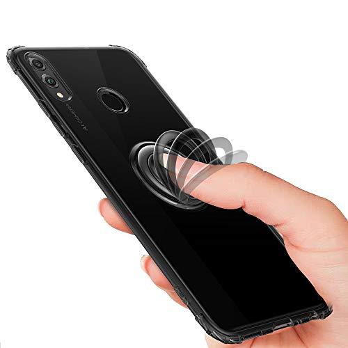 Funda de anillo Pop-Up compatible con Huawei Honor 8X Max Clear Liquid Crystal funda transparente TPU silicona Case with 360° Finger Ring Standing magnético multicolor Negro  Honor 8X Max
