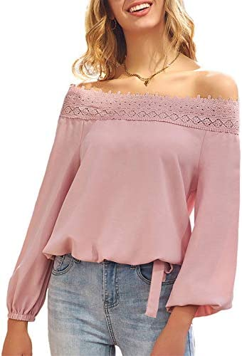Women s Lantern Long Sleeve Lace Crochet Off The Shoulder Tops Loose Business Blouses Shirt product image