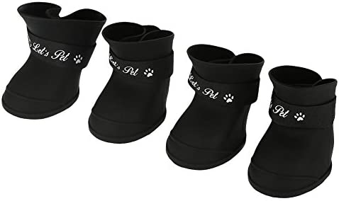 Fdit 4Pcs Botas de Lluvia para Perros, Zapatos de Silicona Antideslizantes Impermeables para Mascotas, Botas de Lluvia Protectoras para Perros pequeños (L Negro)
