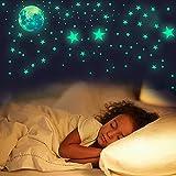 Bipily Habitación Infantiles Luminoso Pegatinas de Pared Luna Estrellas Puntos Pegatinas Decorativas para Niños Infantil Fluorescente Adhesivos Decoración para Dormitorio 435 Piezas
