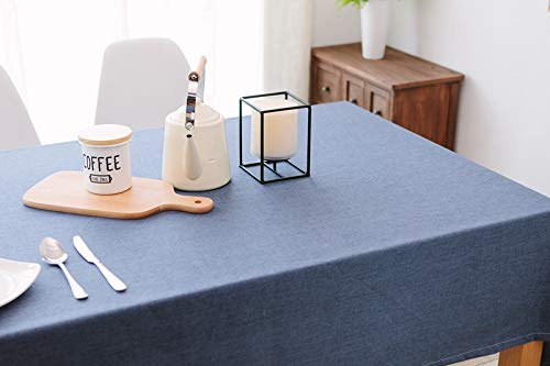 York Duck Kitchen Tablecloth, Dust-Proof Linen& Cotton Fabric, Tassel Edge Tabletop Decoration (Water-Proof Blue)