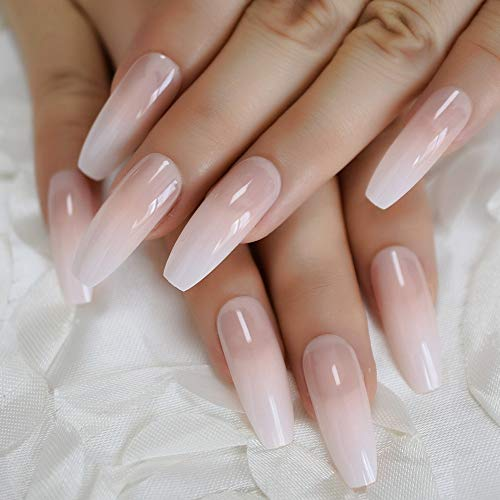Natural Coffin Daily Salon False Nail Long Full Cover French Nail Tips Gradient Smooth Good Quality Ballerina Faux Ongles