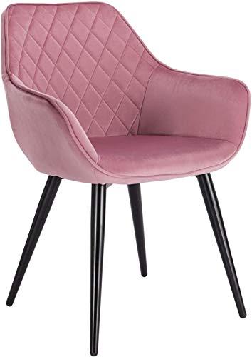 HYLMM - Silla de comedor para cocina, mostrador, salón, ocio, sala de estar, esquina, sillón de recepción de tela gris con respaldo y reposabrazos y patas de metal, Rosa, Velvet