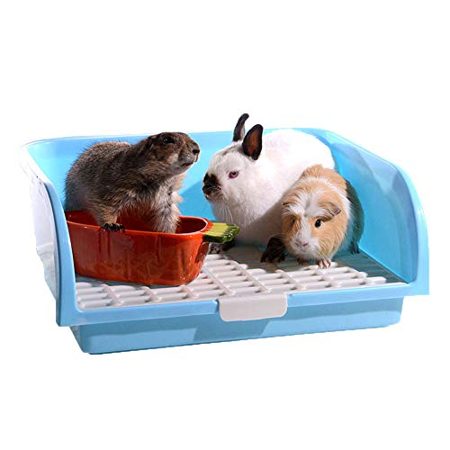 Oncpcare Super Large Rabbit Litter Box, Small Animal Restroom Square Rabbit Litter Toilet Chinchilla Potty Trainer Guinea Pig Litter Tray for Mink Squirrel Weasel