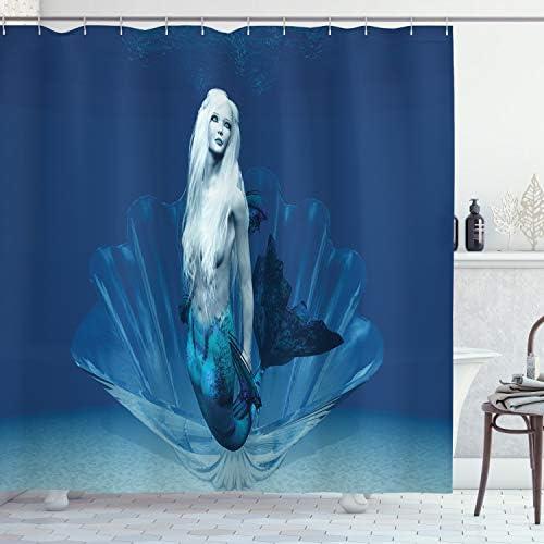 Fairytale Shower Curtain Mermaid in Deep Water Print for Bathroom
