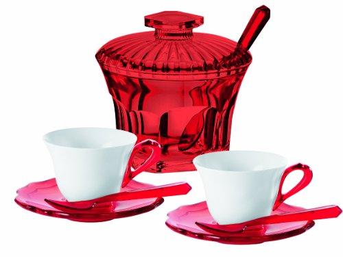 Guzzini Fratelli Belle Epoque, 2 Espressotassen mit Untertassen, Loffel und Zuckerdose, SAN|SMMA|Porcelain