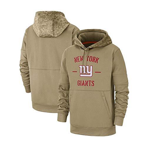 NFLSWER American Football Sweatshirt Giants-Team-Fan-Jersey-Männer Frühling und Herbst im Freien Hoodie, Kommode mit Team-Namen und Logo-Grafik Jersey (Farbe : Khaki, Size : Medium)