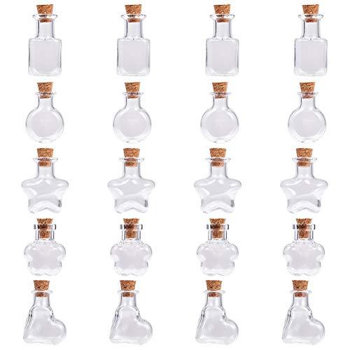 SUNNYCLUE 20pcs 5 Estilos Mini Botellas de Frascos de Vidrio con Tapones de Corcho Zapatos de Estrellas Transparentes Botellas Cuadradas de Deseo Contenedor de Cosméticos para Favores Fiesta Bodas