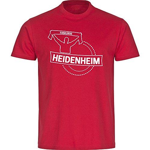 Herren T-Shirt Fankurve Heidenheim - rot - Größe S bis 5XL, Größe:L, Farbe:rot