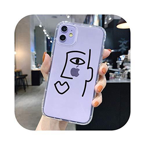 Carcasa abstracta para iPhone 12 Pro Max 7 8 Plus X XR XS 11 Pro Max 6S Plus SE 2 Moda TPU Silicona Back Cover TPU Q1660-Para iPhone 6 Plus