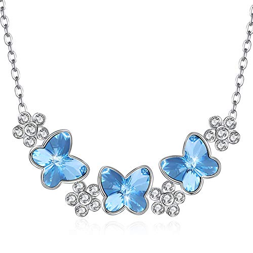 KOLOVEADA Butterfly Pendant Sterling Silver Female Necklace Simple Sparkling Crystal Pendant Necklace Delicate Fashion Silver Presents for Women (Blue)