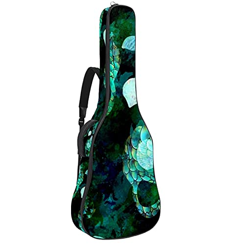 Calaveras de concha de sirena verde, funda gruesa para guitarra eléctrica, bolsa...