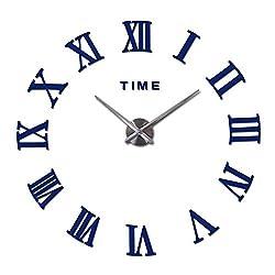 Wenzi-day Home Decorations Quartz Modern Wall Clock Clocks Watch horloge 3D DIY Wall Stickers,Deep Blue,47inch
