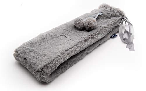 Bolsa de agua caliente larga axion - incluye funda gris (de peluche con pompones)